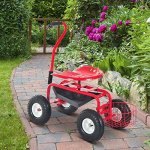 Outsunny-Rolling-Garden-Cart-with-Bucket-Basket-Red-0-0