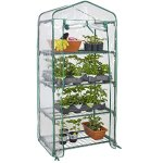 Powder-Coated-Steel-Bars-and-a-Polyethylene-Plastic-cover-4-Tier-Mini-Greenhouse-27-Long-x-18-Wide-x-63-High-Ideal-for-Gardening-Lover-0