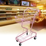 Shopping-cart-hand-Push-car-double-layer-KTV-supermarket-4-wheel-pink-household-metal-wheeled-children-mini-shopping-basket-0-0