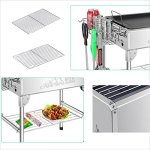 YI-HOME-Barbecue-Stainless-Steel-Outdoor-Folding-Grill-Home-Charcoal-BBQ-Tools-Portable-Picnic-Silver-0-0