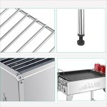 YI-HOME-Barbecue-Stainless-Steel-Outdoor-Folding-Grill-Home-Charcoal-BBQ-Tools-Portable-Picnic-Silver-0-2
