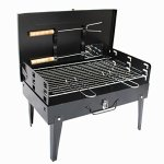 YI-HOME-Barbecue-Suitcase-Outdoor-Iron-BBQ-Household-Charcoal-Grill-Tools-Foldable-Black-0-0