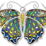 Amia-Green-Jay-Butterfly-Hand-Painted-on-Glass-10-14-by-7-Inch-0