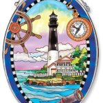 Amia-Oval-Suncatcher-with-Pensacola-Lighthouse-Design-Hand-Painted-Glass-6-12-Inch-by-9-Inch-0
