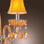 Artisitc-Wall-Light-with-2-Fabric-Shades-2-Lights-Chandelier-Feature-Amber-Glass-Horn-0-2