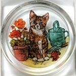 Decorative-Hand-Painted-Stained-Glass-Paperweight-in-a-Kitten-and-Geraniums-Design-0