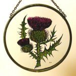 Decorative-Hand-Painted-Stained-Glass-Window-Sun-CatcherRoundel-in-a-Scottish-Thistle-Design-0