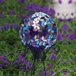 Evergreen-Garden-Purple-Iridescent-Flower-Petal-Mosaic-Glass-Gazing-Ball-10L-x-10W-x-12H-0-0