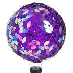 Evergreen-Garden-Purple-Iridescent-Flower-Petal-Mosaic-Glass-Gazing-Ball-10L-x-10W-x-12H-0-1