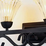 LITFAD-Industrial-Retro-1496-Wall-Sconce-Vintage-Wall-Light-Antique-Wall-Lamp-Wrought-Iron-with-Clear-Ribbed-Glass-Shade-for-Hallway-Lighting-0-2