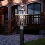 Luxury-Colonial-Outdoor-Post-Light-Large-Size-21H-x-11W-with-Tudor-Style-Elements-Versatile-Design-Classy-Aged-Silver-Finish-and-Beveled-Glass-UQL1149-by-Urban-Ambiance-0-0