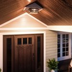 Luxury-Craftsman-Outdoor-Ceiling-Light-Small-Size-575H-x-12W-with-Tudor-Style-Elements-Highly-Detailed-Design-Oil-Rubbed-Parisian-Bronze-Finish-and-Water-Glass-UQL1249-by-Urban-Ambiance-0-0