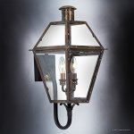 Luxury-Historic-Outdoor-Wall-Light-Large-Size-235H-x-105W-with-Tudor-Style-Elements-Antique-Gas-Lantern-Design-Rustic-Copper-Finish-and-Clear-Glass-UQL1210-by-Urban-Ambiance-0-1