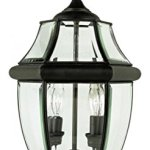 Two-Light-Black-Clear-Beveled-Curved-Glass-Post-Light-0-0