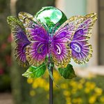 Wind-Weather-KA6932-Outdoor-Solar-Butterfly-Glowing-Mercury-Glass-Orb–Kinetic-Yard-Art-Garden-Wind-Spinner-1625-Dia-x-635-Multi-Colored-0