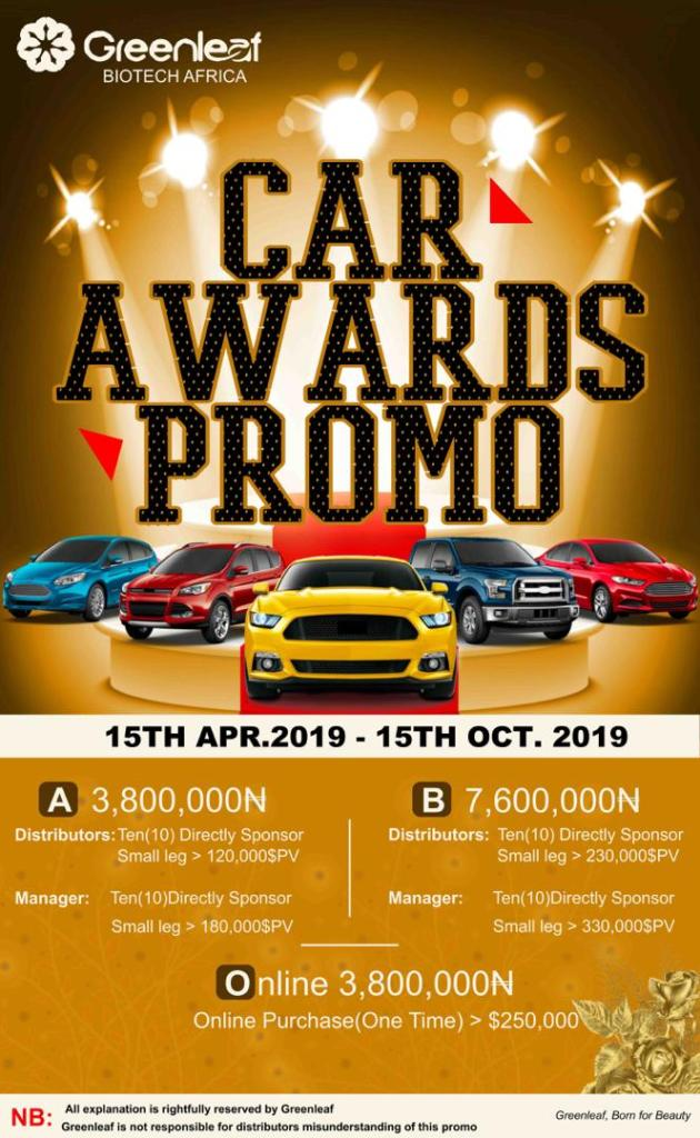 Greenleaf Biotech Car Award Promos 2019