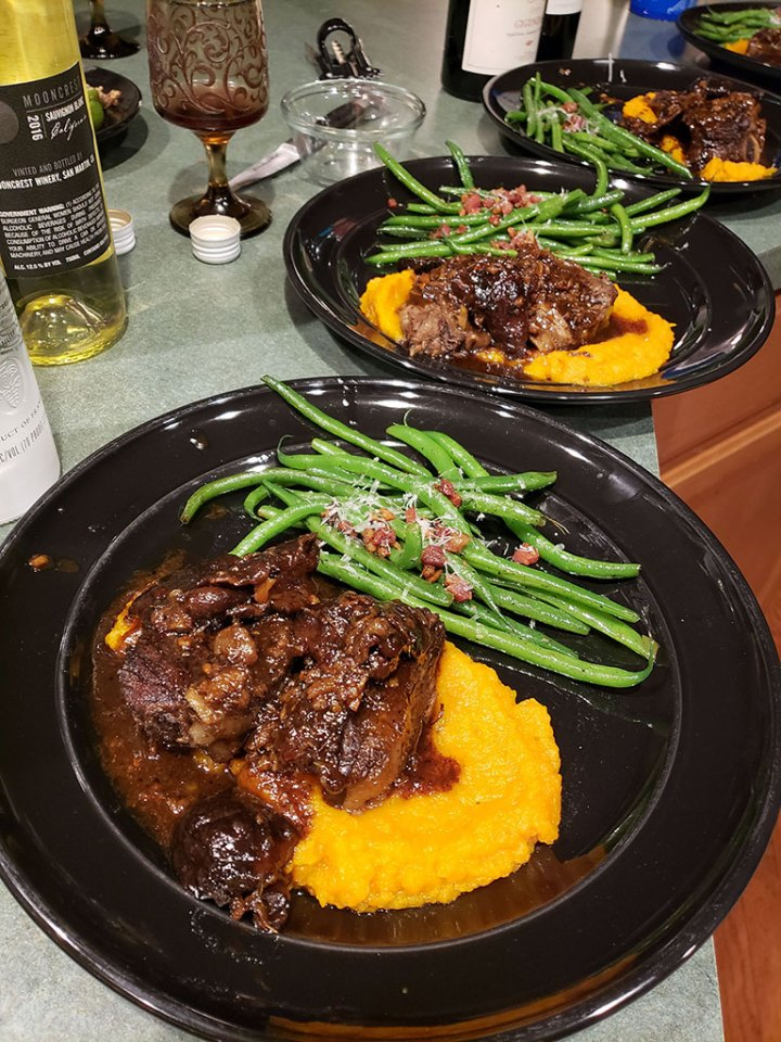 Plating Asian Short Ribs with Butternut and Green Beans