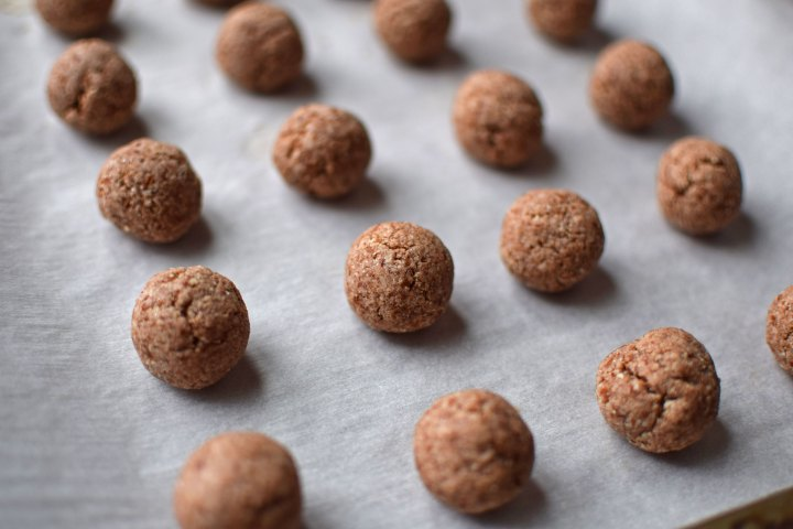 Cinnamon Almond Snowball Cookies After Baking