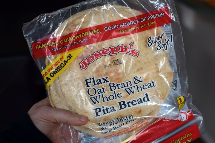 Joseph's Flax, Oat Bran and Whole Wheat Flour Pita Bread