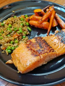 Maple-Ginger Salmon, Carrots, and Brown Rice Portrait