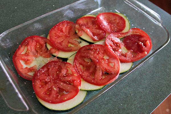 Cheesy Zucchini Tomato Bake - Layers