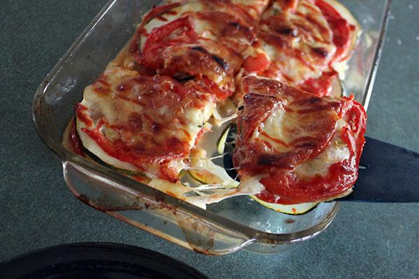 Cheesy Zucchini Tomato Bake Slice