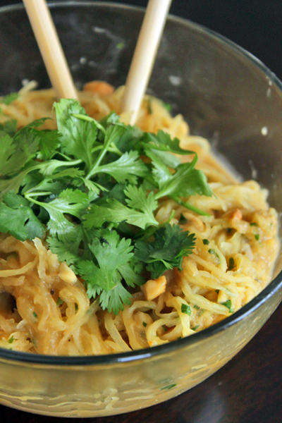 Spicy 'Noodle' (aka Spaghetti Squash) Bowl With Peanuts and Cilantro - Portrait
