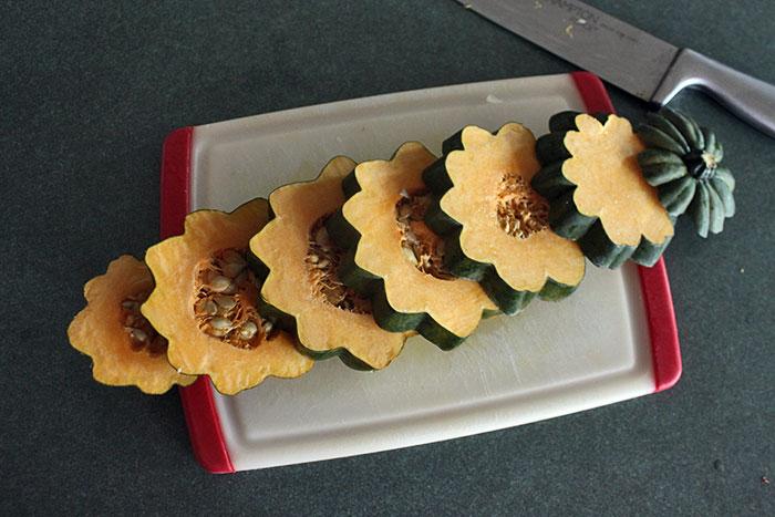 acorn squash cut