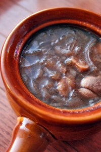 French onion and mushroom soup portrait