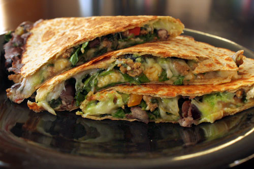 Kale, Turkey and Black Bean Taco Filling - Quesadilla