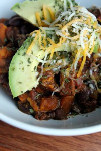 Spicy Sweet Potato and Black Bean Chili with Avocado - portrait
