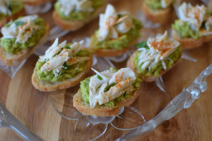 Crab and Avocado Crostini
