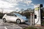 Nissan Leaf at a charging station
