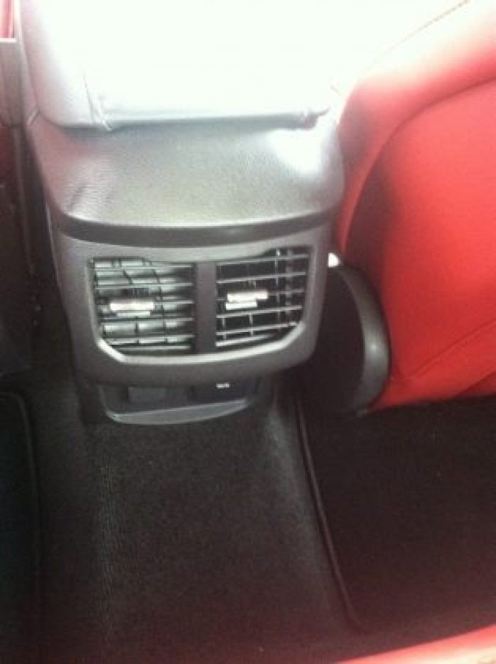 Back seats of Ford Fusion Energi plugin hybrid Electric car