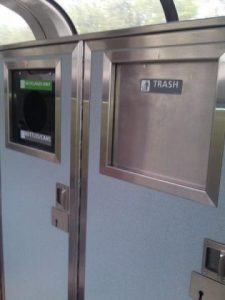 recycling bins on amtrak trains