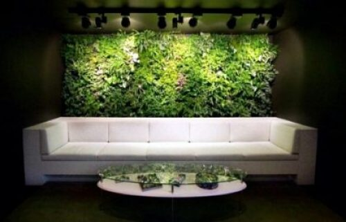 vertical green living gardens. artificial plant walls