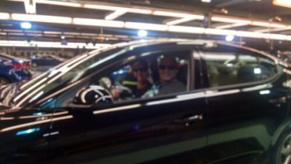 Lori Hamilton and I in the Hyundai Elantra Eco