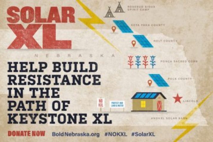 'Solar XL' project breaks ground along Keystone XL pipeline in Nebraska, highlighting clean energy solutions over the fossil fuel industry