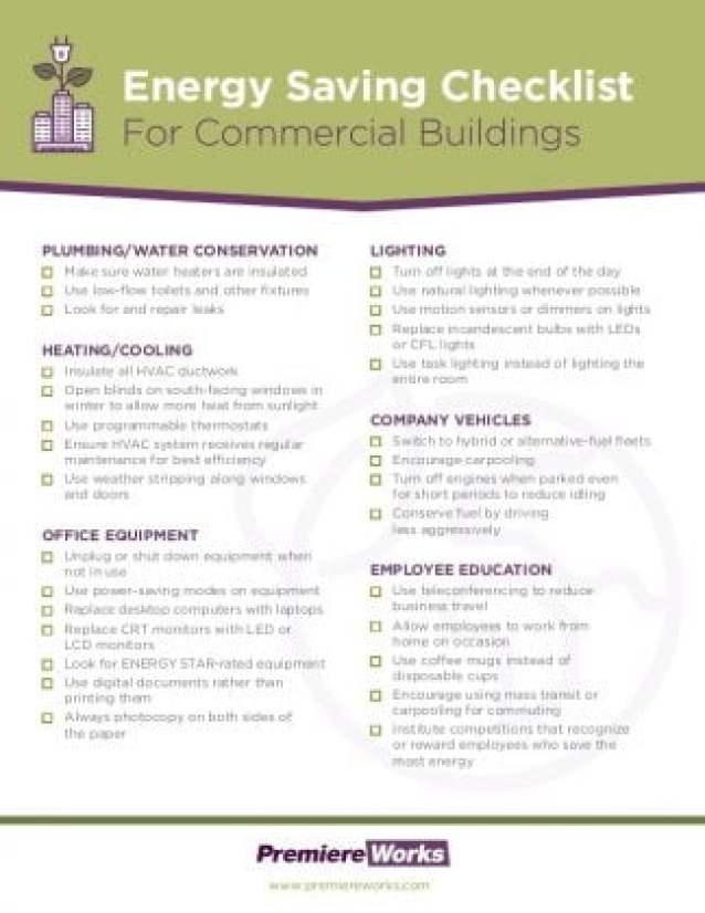 Commercial building energy efficiency checklist