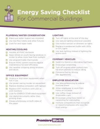 Energy saving checklist for commercial buildings for Build it green checklist