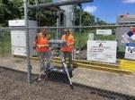 EPA installing air monitoring equipment at Kapoho Verizon Tower location in Hawaii.