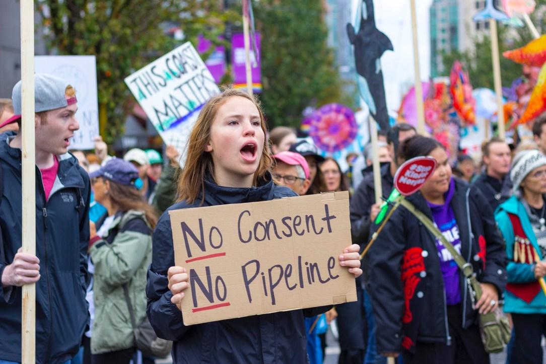Rainforest action network protests kinder Morgan pipeline