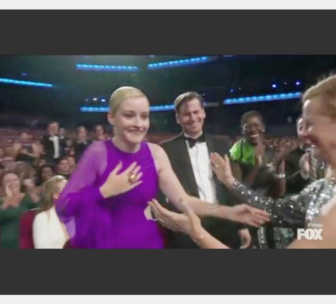 Gwen can be seen on right. Just as the beautiful Julia Garner actress wins from her show Ozark (dark blonde guy in middle is her fiance Mark) an ECO dress made history.