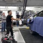 Franz Von Holden throwing the steel ball at the glass NOT BREAKING in video testing on Tesla Cybertruck.