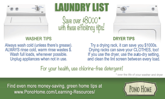 Washer and dryer efficiency Pono Home
