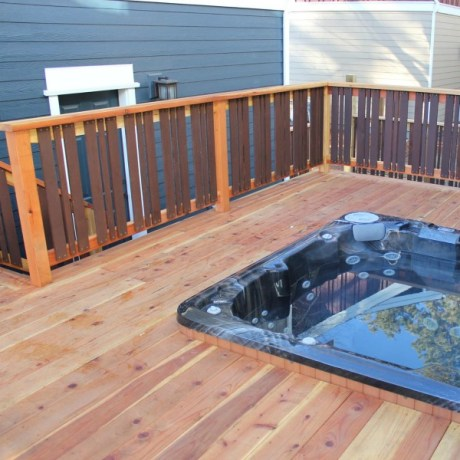 sustainable redwood deck with hottub