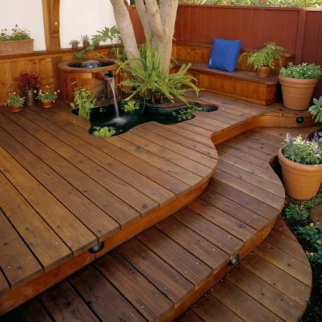 sustainable redwood deck with plants