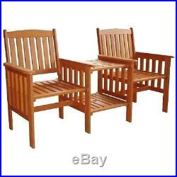 2 seater love chair shower transfer wooden seat garden furniture wood patio outdoor with table