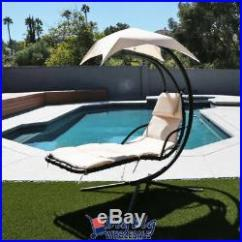 Hammock Chair With Canopy How To Make A Wood Hanging Lounge Chaise Outdoor Porch Patio Sun Shade Beige