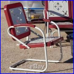 Vintage Lawn Chair Caster Covers Retro Metal Chairs Armchair Red Outdoor Patio Garden Poolside S